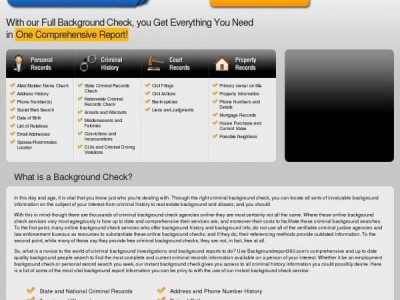 The backgroundreport360.com Homepage